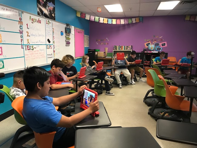 middle school students image global collaboration project